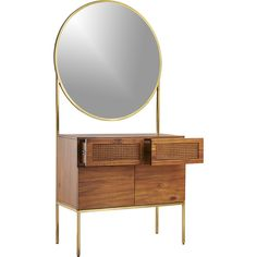 Shop memento mirror cabinet.   The iconic dressing table gets turned on its head in this stunning design by Mermelada Estudio.  Warm acacia wood and tropical cane contrast natural tone and texture against gleaming brushed brass.