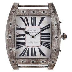 Eton Distressed White Wash Metal Clock