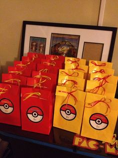 Planning a Pokemon theme party for your kid? This Pokemon theme birthday party will entice your kids no matter which age they are. Heres a list of cool ideas for your kinds pokemon theme party Pokemon Party Bags, Pokemon Themed Party, Pokemon Birthday Cake, 9th Birthday Parties, Birthday Fun, Birthday Ideas, Party Favor Bags, Goody Bags, Favor Boxes