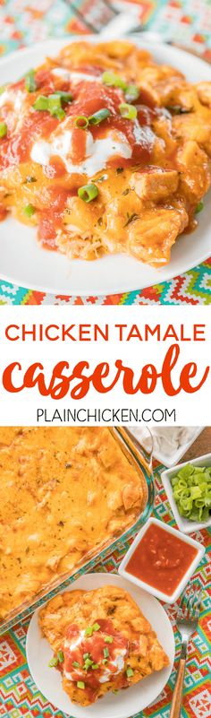 Chicken Tamale Casserole - a sweet cornbread crust topped with enchilada sauce and chicken. This is a crowd pleaser! SO easy and ready in minutes! Everyone LOVES this recipe - even picky eaters. Top with your favorite taco toppings! Tamale Casserole, Casserole Dishes, Casserole Recipes, Great Recipes, Dinner Recipes, Favorite Recipes, Easy Recipes, Detox Recipes, Dinner Ideas