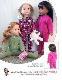 How to make doll clothes - Footie Jammies doll sewing pattern for 14.5-inch…
