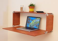 """DIY wall mounted desk.  Uses 8 ply90 bracket clips.  Recommend 3/4"""" wood."""