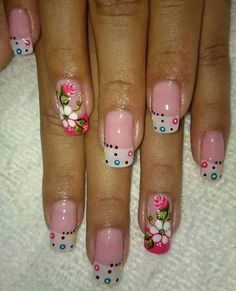 Blanco, algodón, belladona, dorado F: aur o gla Flower Nail Designs, Pedicure Designs, French Nail Designs, Nail Art Designs, Cute Nail Art, Beautiful Nail Art, Cute Nails, Pretty Nails, Wow Nails