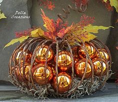 Ornament Filled Halloween Pumpkin.