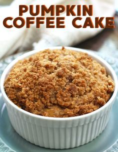 This irresistible pumpkin coffee cake is topped with a buttery  streusel topping. It's a quick and easy coffee cake recipe that I know  you'll love! Bursting with pumpkin flavor, this single serving cake will  be perfect with your morning coffee or tea! Single Serve Meals, Single Serve Cake, Single Serving Recipes, Pumpkin Recipes, Cake Recipes, Dessert Recipes, Desserts, Pumpkin Coffee Cakes, Small Baking Dish