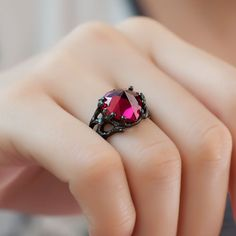 Solitaire Style Heart Ruby 925 Sterling Silver 'The Black Queen' Women's Designer Engagement Ring - should I; shouldn't I ??! ahaha - sure I should!