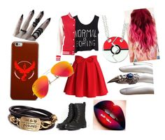 """""""Team Valor"""" by bellagrizard ❤ liked on Polyvore featuring Chicwish, Boohoo, Valor, Christian Louboutin and Ray-Ban"""