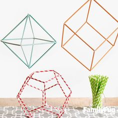 "Teach Math With Fun 3-D Shapes: Sometimes the simplest projects can demonstrate the most profound ideas. Using humble materials to build a 3-D shape, kids can begin to understand how the things around them -- from soccer balls to supermarkets -- are made of forms mathematicians call polyhedra (Greek for ""many faces"")."