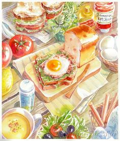 Food Illustrations that will blow your mind - Ateriet Food Design, Geek Wallpaper, Food Wallpaper, Cute Food, Yummy Food, Food Sketch, Watercolor Food, Food Painting, Think Food