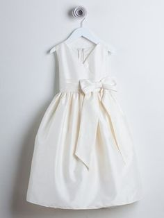 Ivory V-neck poly dupioni flower girl dress with bow