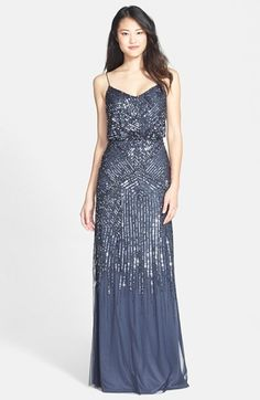 Free shipping and returns on Adrianna Papell Beaded Blouson Gown at Nordstrom.com. Angled lines of iridescent, metallic beads and sequins accentuate the sheer-mesh overlay of a floor-length gown.