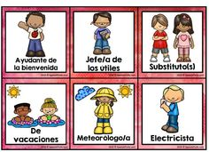 Classroom Jobs in Spanish (Trabajos / Ayudantes del salon) Red - Spanish Profe