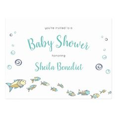 This darling baby shower invitation postcard features a cute under the sea theme with turquoise and black text. Personalize this invitation with the baby shower details on the back. Ocean Baby Showers, Thank You Postcards, Rsvp Postcards, Homemade Fishing Lures, Fly Tying Tools, Postcard Wedding Invitation, Fishing Humor, Fishing Tips, Fly Fishing