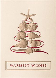 Warmest Beach Wishes!  This could be a homemade card or tag using red ribbon and die cuts . . .  pretty.