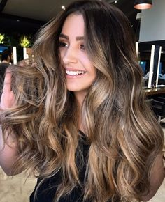 Long Wavy Ash-Brown Balayage - 20 Light Brown Hair Color Ideas for Your New Look - The Trending Hairstyle Brown Curly Hair, Brown Ombre Hair, Brown Hair Balayage, Long Brown Hair, Brown Blonde Hair, Light Brown Hair, Blonde Wig, Bayalage, Blonde Highlights On Dark Hair Brunettes