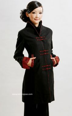 Hand made, Cheongsam/Qipao Coat, black and red cloud_241$