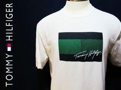 Vtg 90s Green Big Flag Tommy Hilfiger Logo Hip Hop White T Shirt Sz L #tommyhilfiger #vintagetees #biglogo #90s #hiphop #streetwear #prep
