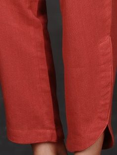 Red Elasticated Tie-up Waist Cotton Pants by Jaypore Cotton Pants, Tied Up, 4ff9e51e42