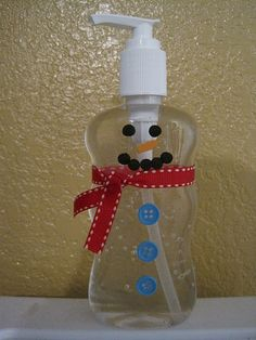 Snowman Hand Sanitizer. I saw this pin a few days ago, then I saw these hand sanitizer bottles at the dollar store today so I picked up a few. I think they'll make cute gifts for teachers and aides.