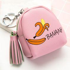 Women Girls Handbag Cute Fashion Casual Fruit Pattern Artificial Leather Snacks Coin Purse Wallet Bag Change Pouch Key Holder