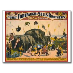 Terrific flights over ponderous elephants, poster for Forepaugh & Sells Brothers, ca. 1899 - another great circus poster from Londonderry's era Vintage Circus Posters, Carnival Posters, Vintage Advertising Posters, Vintage Advertisements, Retro Posters, Old Circus, Circus Show, Circus Party, Circus Ole