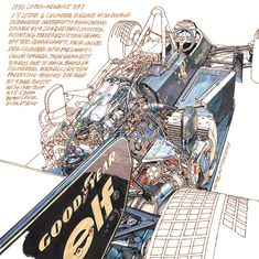 1986 John Player Special Lotus F1 - illustration by Peter Hutton