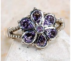rope design~ art deco style~ Natural Amethyst & 925 SOLID STERLING SILVER flower $29.00