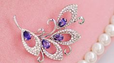 Vintage Micro Pave Zirconia Alloy Flower Brooch with Violet Zircon
