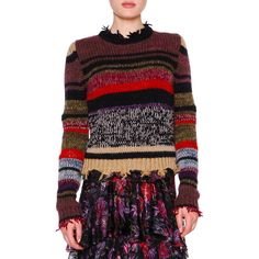 Etro Long-Sleeve Raw-Edge Striped Sweater ($790) ❤ liked on Polyvore featuring tops, sweaters, violet multi, pullover sweaters, striped long sleeve top, long sleeve tops, long sleeve sweater and etro sweaters