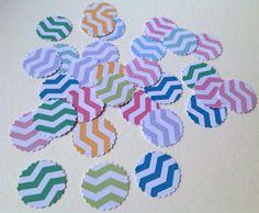 Card Scalloped Edge Circle Shapes,Chevron Print,Assorted Colours,100pk £1.20