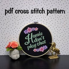 Gangster Cross Stitch Pattern, Homie Don't Play That, Funny Embroidery, Subversive Hoop Art, Modern Needlecraft - PDF, Instant Download