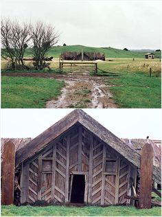 This is the house built by Te Rā Karepe and Rangawhenua, leaders of the Pao Mīere movement. It was named Te Miringa Te Kakara. It was built in the shape of a cross and had four entrances. The roof was covered with tōtara bark. New Zealand Houses, New Zealand Art, Ancient Architecture, Architecture Design, Lanscape Design, Nz History, Polynesian People, Maori Designs, Diy Home Repair