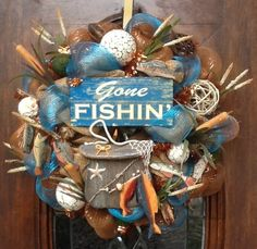 Burlap and Deco Mesh Fisherman's Wreath, a feminine touch for the sportsman's retreat!