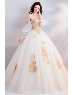 Classic Gold With White Ball Gown Princess Wedding Dress Off Shoulder Wholesale . - Classic Gold With White Ball Gown Princess Wedding Dress Off Shoulder Wholesale – GemGrac - Western Wedding Dresses, Classic Wedding Dress, Princess Wedding Dresses, Wedding Gowns, Princess Gowns, Wedding White, Elegant Wedding, Lace Wedding, Wedding Cakes