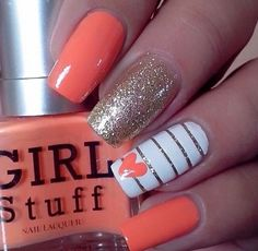 Easy Valentine's Day Nail Art Ideas 2019 easy valentine's day nail art ideas nail designs; acrylic easy valentine's day nail art ideas nail designs; Diy Nails, Swag Nails, Grunge Nails, Uñas Color Coral, Orange Color, Peach Orange, Nagellack Design, Diy Nail Designs, Coral Nail Designs