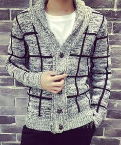 Loose-Fitting Checked Pattern Rib Splicing V-Neck Long Sleeve Cardigan For Men