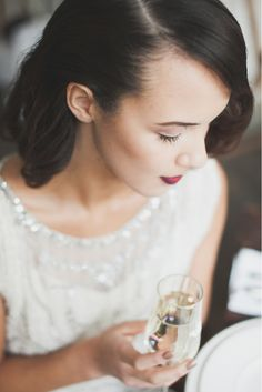 red lips - Hair and makeup ideas for a holiday party - photo Ryan Welch - http://ruffledblog.com/welsh-floral-wedding-inspiration/
