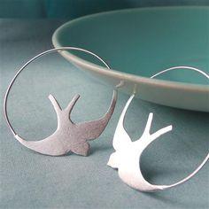 Martha Jackson Silver Swallow Hoop Earrings