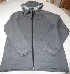 Nike Dri Fit L Men's fleece hoodie jacket zip up 860465 071 charcoal heather NWT #Nike #fleecejacketcoathoodie