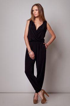 Wrap Around Sleeveless Black Jumpsuit With Shirred Waist LAVELIQ