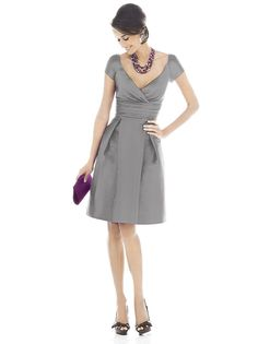 Alfred Sung D500 Dress Dupioni Short Sleeves In-Seam Pockets