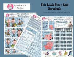 Whimsical decorative stickers for the Classic Happy Planner featuring cute pigs dressed in Western garb and ready to ride horses. 3 PDF files