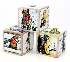 Vintage Winnie The Pooh Baby Blocks Baby Shower by Booksonblocks Wooden Baby Blocks, Wood Blocks, Vintage Winnie The Pooh, Christopher Robin, Nursery Room, Baby Shower Decorations, Create Your Own, Decorative Boxes, Etsy Shop