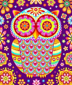 Colorful Owl Art By Thaneeya McArdle