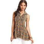 Free People Top, Sleeveless Floral-Print Tunic