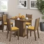 Conjunto Sala De Jantar Mesa E 4 Cadeiras Lexy Madesa Rustic/Palha 349,90