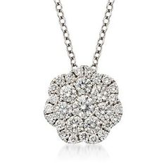 "Ross-Simons - .50 ct. t.w. Floral Diamond Pendant Necklace in 14kt White Gold. 16"" - #813416 shape for Bri's charm?"