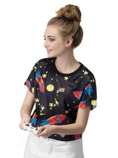 Shop Black Cartoon Rocket Stars Print Crop T-Shirt from choies.com .Free shipping Worldwide.$8.99