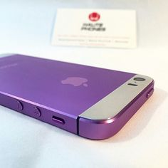 Purple w real platinum inserts #customiphone #iphone We are able to work with precious metals to create something very unique and luxurious for your iohone www.hautephones.com