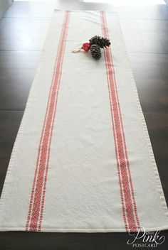 Farmhouse table runner  Scandinavian stripe white by PinkPostcard, $35.00